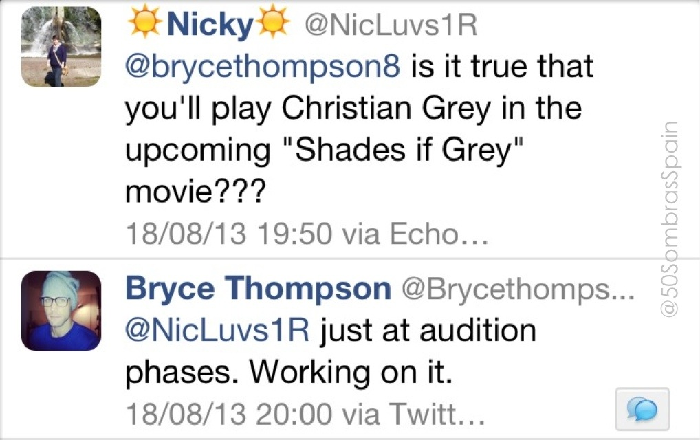 Bryce Thompson about Christian Grey
