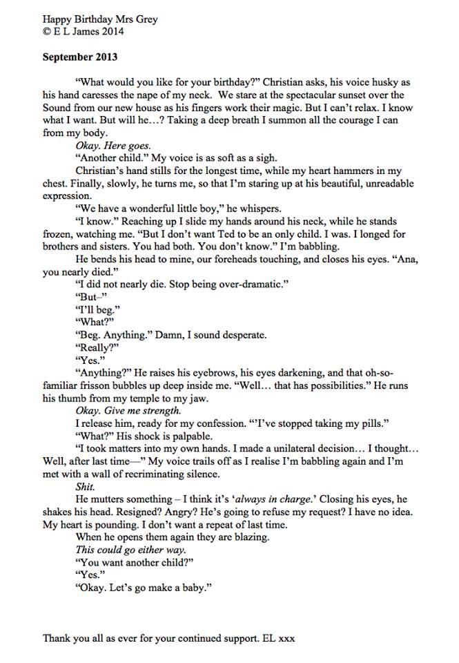 Regalo de E.L. James por el cumpleaños de Ana: Nuevo ...