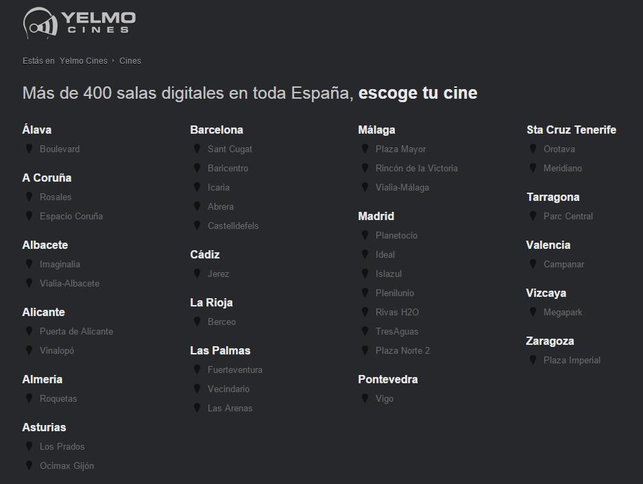 Yelmo cines lista 50 Sombras