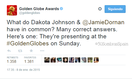 Jamie y Dakota 50 Sombras Golden Globes