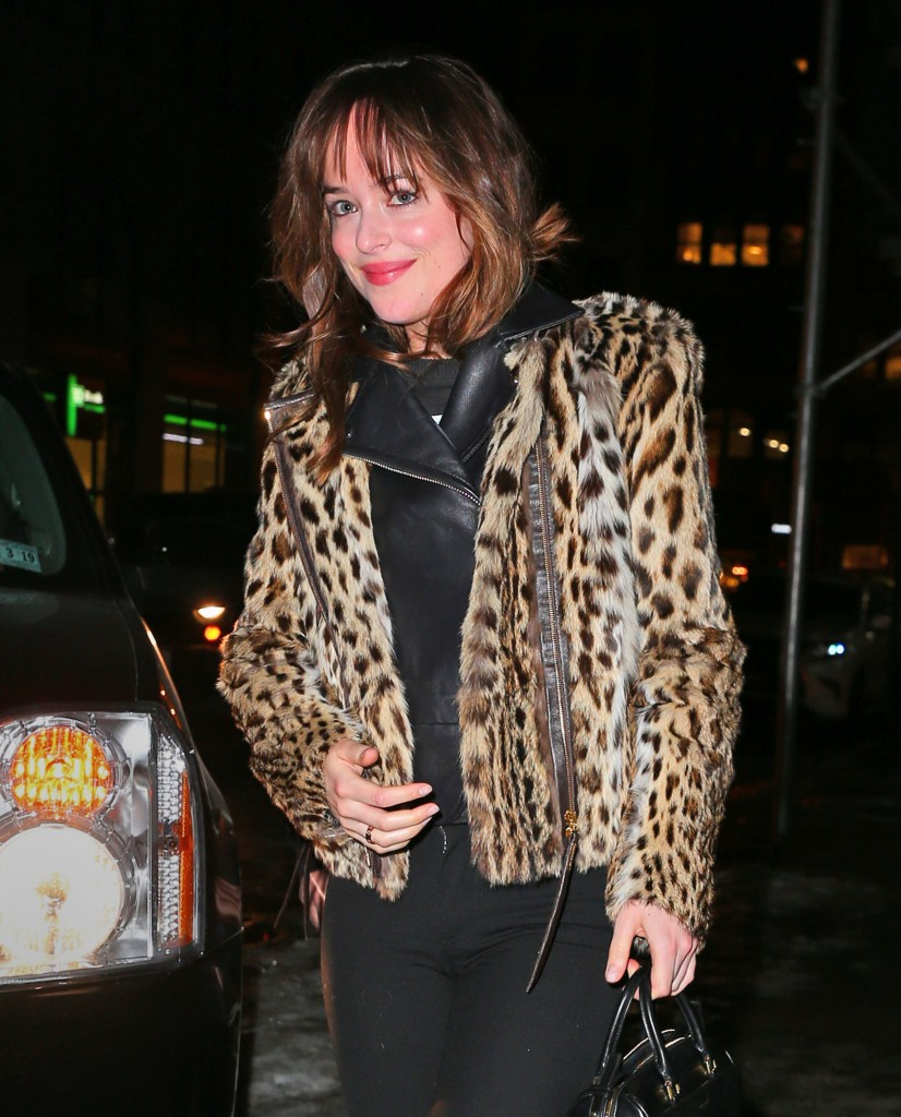 Dakota Johnson heads out for dinner in NYC in a leopard jacket