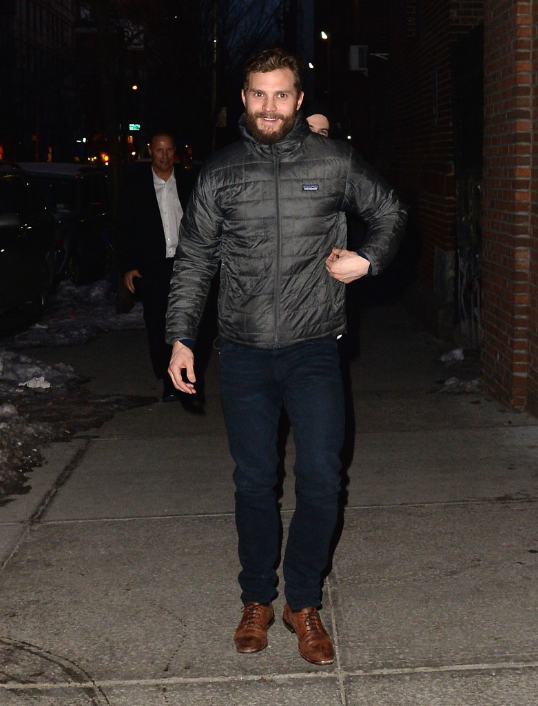 Jamie Dornan watched soccer match England vs Wales at the Red Lion bar with Tom Sturridge today in NYC
