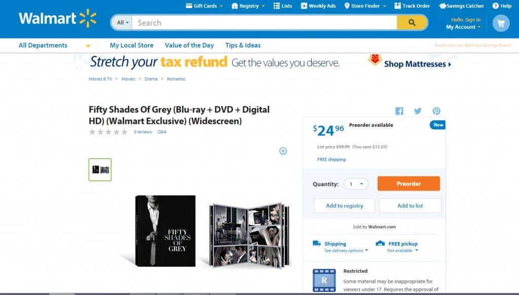 DVD Walmart 50 Sombras