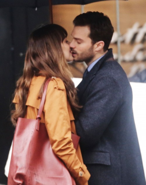51984649 Stars are spotted on the set of 'Fifty Shades Darker' in Vancouver, Canada on March 01, 2016. This is the first scene Dakota Johnson and Jamie Dornan have shot together and already they're turning up the heat with some steamy on-screen kissing. Stars are spotted on the set of 'Fifty Shades Darker' in Vancouver, Canada on March 01, 2016. This is the first scene Dakota Johnson and Jamie Dornan have shot together and already they're turning up the heat with some steamy on-screen kissing. FameFlynet, Inc - Beverly Hills, CA, USA - +1 (310) 505-9876