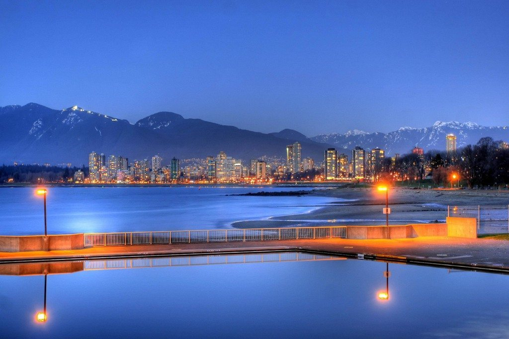 View in the evening over kits pool, beach and the West End