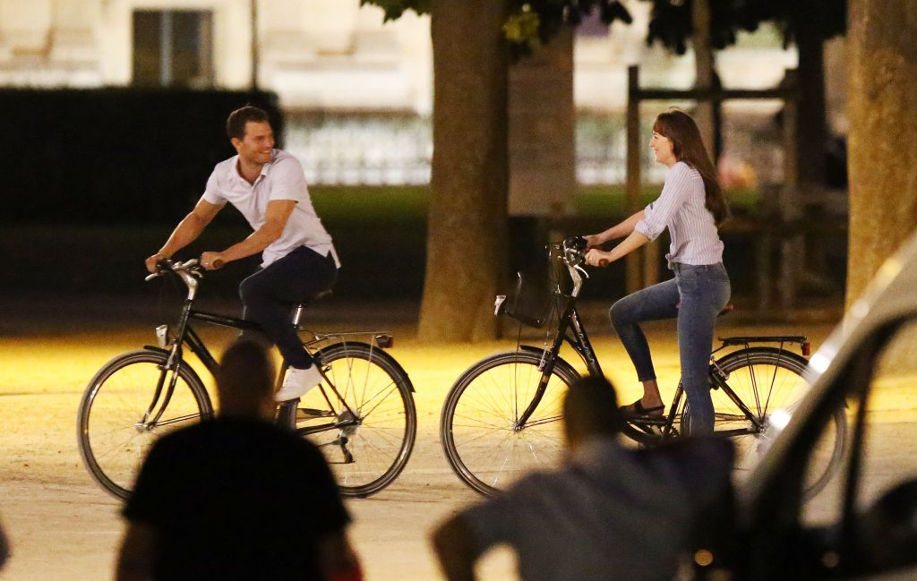 Actors Jamie Dornan and actress Dakota Johnson seen on the set of 50 Shades Of Grey in Paris, France.