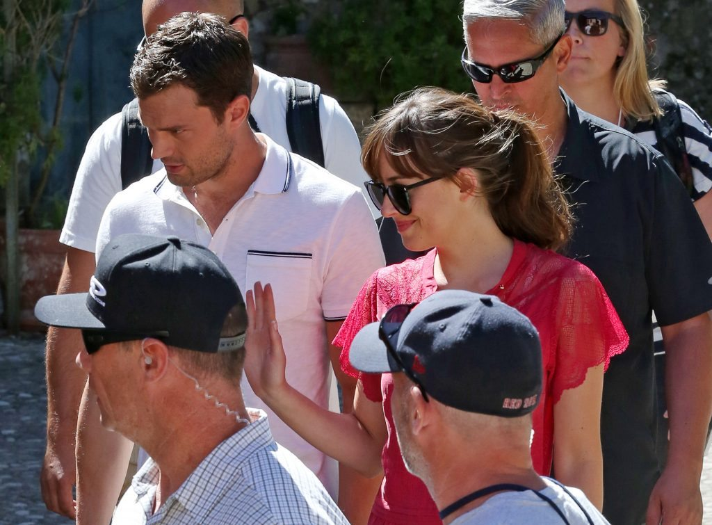 *EXCLUSIVE* Dakota Johnson and Jamie Dornan finish scenes at the top of a Medieval Castle