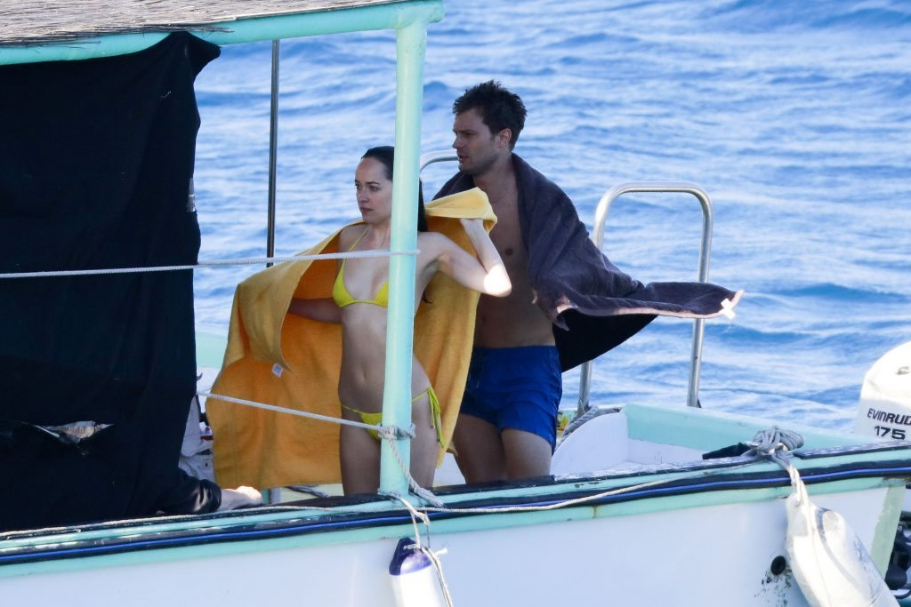 EXCLUSIVE: ** PREMIUM EXCLUSIVE RATES APPLY** Jamie Dornan and Dakota Johnson go diving as they film Fifty Shades Freed